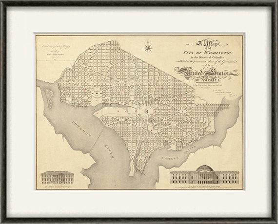 Washington Dc Map Print Map Vintage Old Maps Antique Map With Washington Dc Map Wall Art (View 6 of 20)