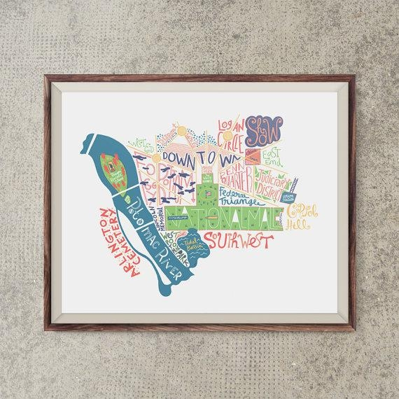 Washington Dc Map Travel Art Us City Poster Washington Dc Wall Inside Washington Dc Map Wall Art (Image 18 of 20)