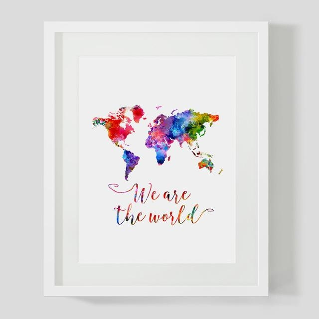 Watercolor World Map Wall Art Print We Are The World Quotes Nursey Within World Map Wall Art Print (View 13 of 20)