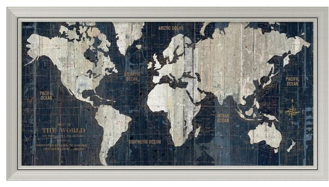 "Wild Apple Portfolio 'old World Map Blue' Framed Art Print 43""x23 Pertaining To World Map Wall Art Framed (Image 17 of 20)"