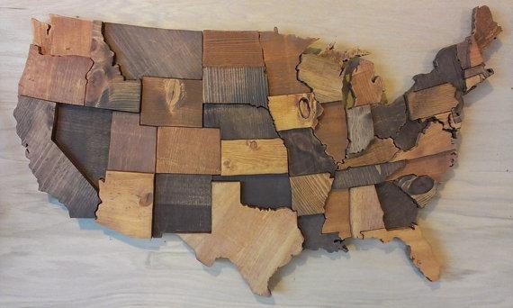 Elegant Featured Image Of Wood Map Wall Art