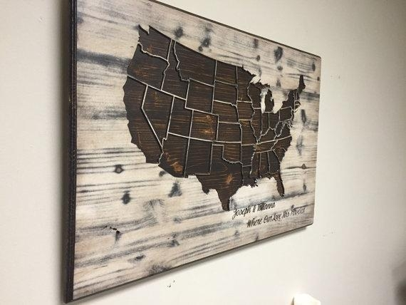 Wood Us Map Wall Art Carved United States Map Us Map With Wood Map Throughout Wood Map Wall Art (Image 16 of 20)