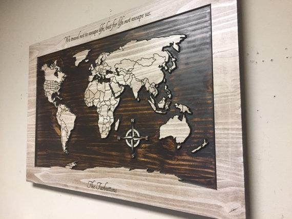 Wood Wall Art World Map Wall Art Carved Wooden World Map With Wood Map Wall Art (Image 17 of 20)