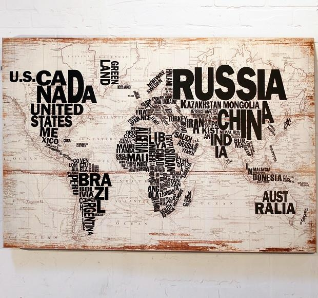 Wood Wall Map Wall Decor | Antique Farmhouse Pertaining To Wood Map Wall Art (View 17 of 20)
