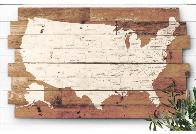 Wooden Usa Map Wall Art Mapwallart1 | Thempfa Inside Wood Map Wall Art (Image 19 of 20)