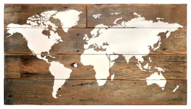 Wooden World Map Wall Art – Getshape (View 7 of 20)