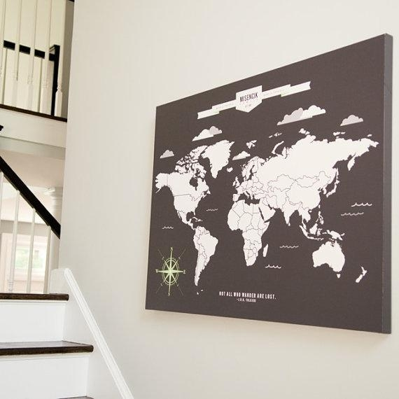 World Map Art Interactive Family Map // Mark The Places Inside Personalized Map Wall Art (View 11 of 20)