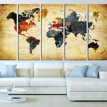 World Map Canvas Art Print, Old World Map From Artcanvasshop On With Regard To Large Map Wall Art (Image 17 of 20)