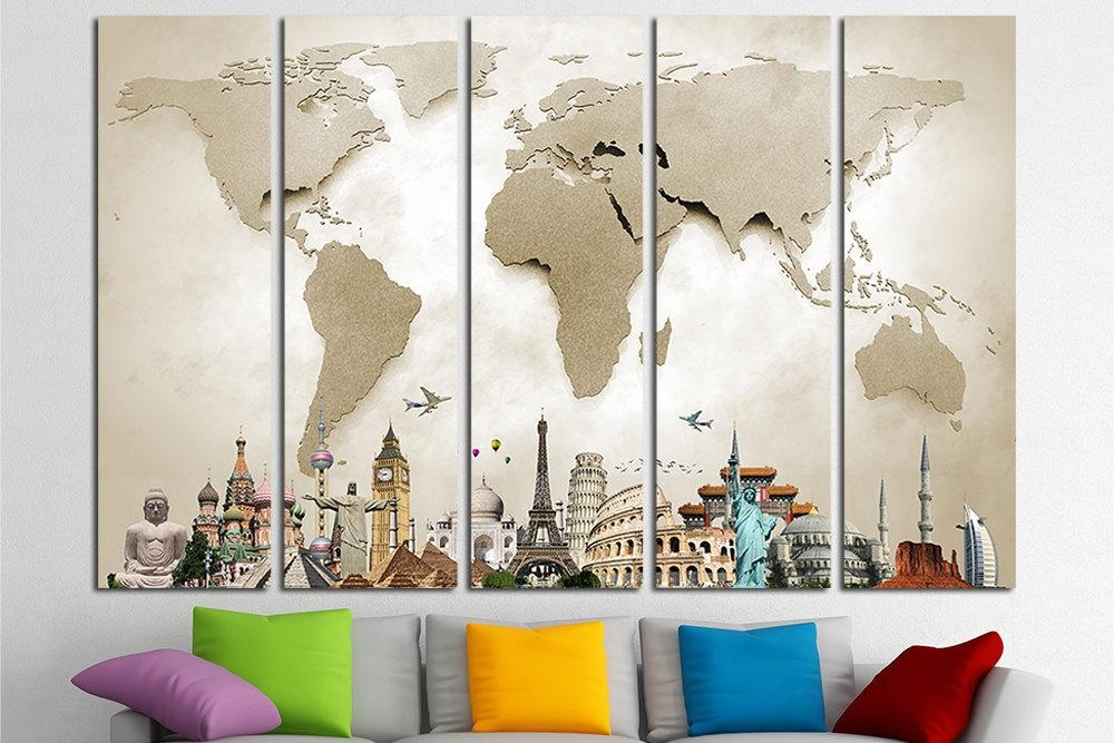 World Map Canvas Print Wall Art Multi Panel World Map Wall Throughout World Map Wall Art Canvas (Image 19 of 20)