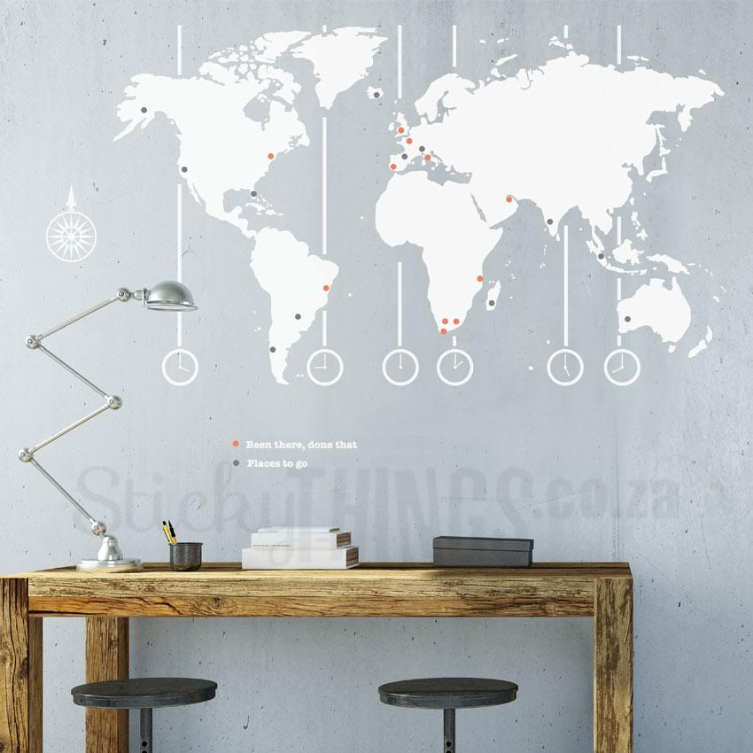 World Map Decal – World Map Wall Art – Stickythings.co (Image 19 of 20)