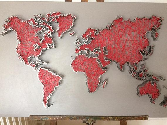 World Map In String Art String Art World Map Pertaining To String Map Wall Art (View 9 of 20)