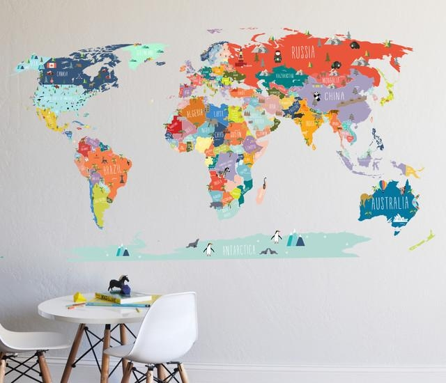 Featured Image of World Map Wall Art For Kids