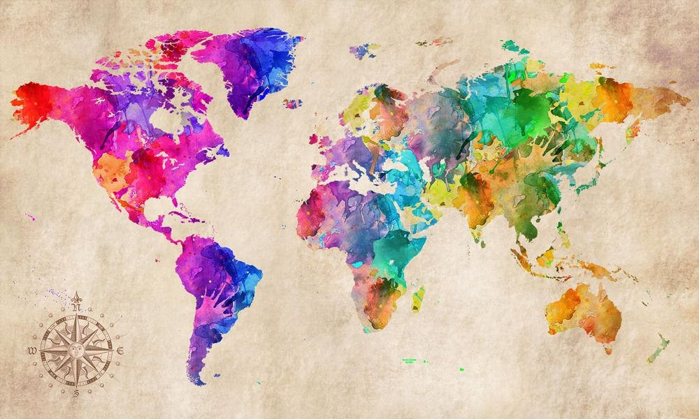 Featured Image of Abstract World Map Wall Art