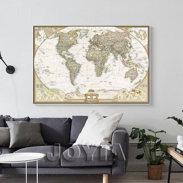 World Map Painting Canvas Prints Large Wall Art Europe Vintage In Large Map Wall Art (Image 18 of 20)
