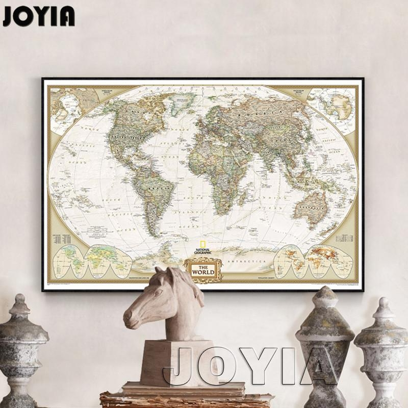 World Map Painting Canvas Prints Large Wall Art Europe Vintage Pertaining To Europe Map Wall Art (View 13 of 20)
