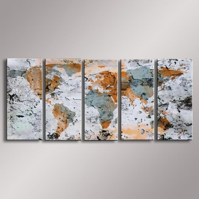 World Map Painting Oil Painting 100% Hand Painted Modern Wall Art With Regard To Abstract World Map Wall Art (Image 20 of 20)