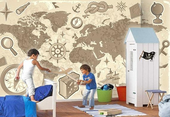 World Map Pirate Treasure Map Wall Mural Children Wallpaper Intended For Treasure Map Wall Art (Image 20 of 20)