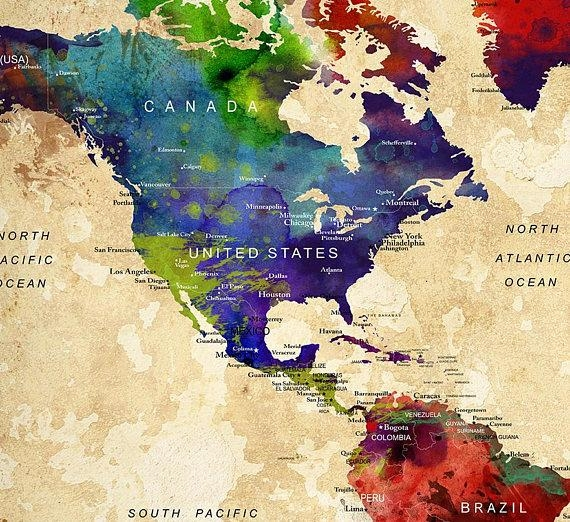 World Map Push Pin Push Pin Travel Map Wall Art World Map Regarding Houston Map Wall Art (Image 20 of 20)