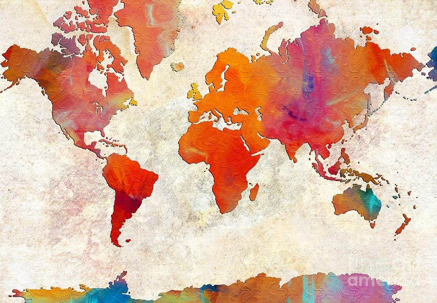 World Map – Rainbow Passion – Abstract – Digital Painting 2 With Regard To Abstract World Map Wall Art (Image 17 of 20)