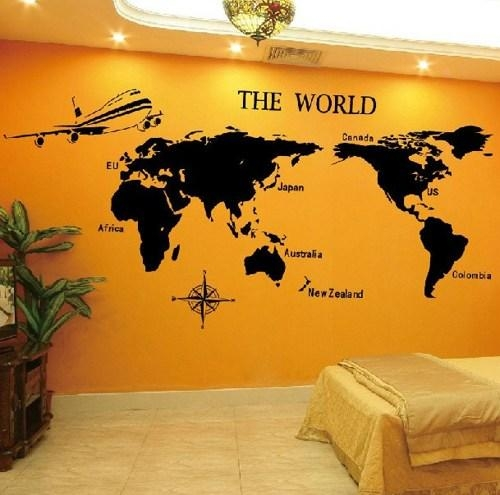 World Map Sticker Wall Art – Home Design Regarding World Map Wall Art Stickers (Image 14 of 20)