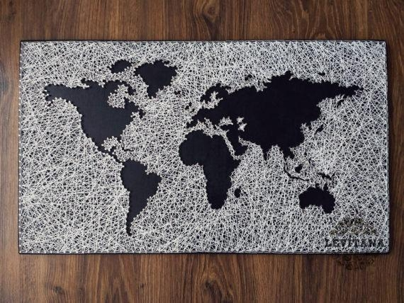 World Map String Art Large World Map Travel Map Wood Regarding String Map Wall Art (View 18 of 20)
