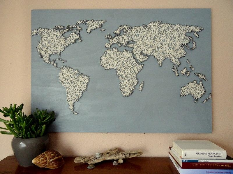 World Map String Art Office Decor Travel Gift World For String Map Wall Art (View 2 of 20)
