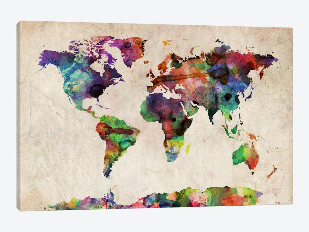 World Map Urba Watercolor Ii Art Printmichael Tompsett   Icanvas Regarding World Map Wall Art Print (View 5 of 20)