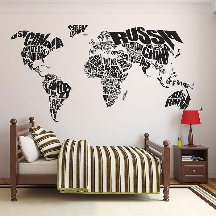 World Map Vinyl Wall Art Decal In World Map Wall Art Stickers (Image 15 of 20)