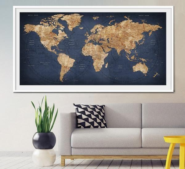 World Map Wall Art Best 25 Map Wall Art Ideas On Pinterest Map With Regard To Large World Map Wall Art (Image 17 of 20)