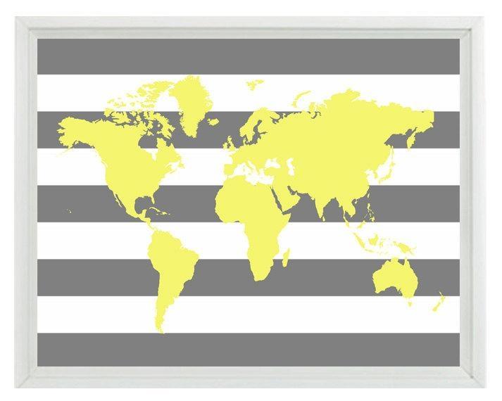World Map Wall Art Print Yellow Gray Stripe Decor Nursery Regarding World Map Wall Art Print (Image 19 of 20)