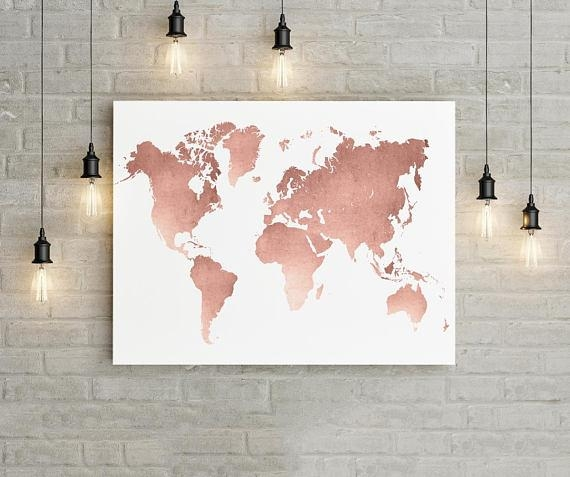 World Map Wall Art Rose Gold Print World Map Poster Rose Intended For Travel Map Wall Art (Image 20 of 20)