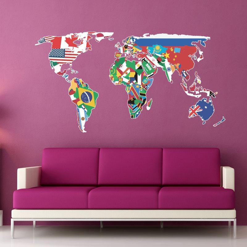 World Map Wall Art Stickers : Family World Map Wall Decal Art Intended For World Map Wall Art Stickers (Image 16 of 20)