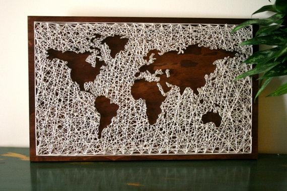 World Map Wall Art String Art Map World Map Art Map Wood Intended For Map Wall Artwork (View 15 of 20)