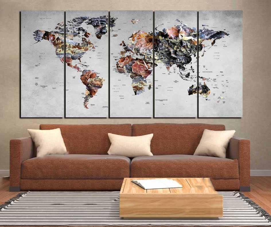 World Map Wall Art,world Map Canvas,large World Map,large Map In Large Map Wall Art (Image 19 of 20)