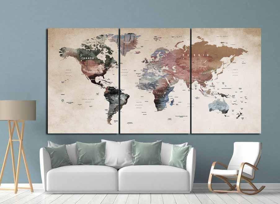 World Map Wall Art,world Map Canvas,world Map Print,large World Inside Vintage World Map Wall Art (View 18 of 20)