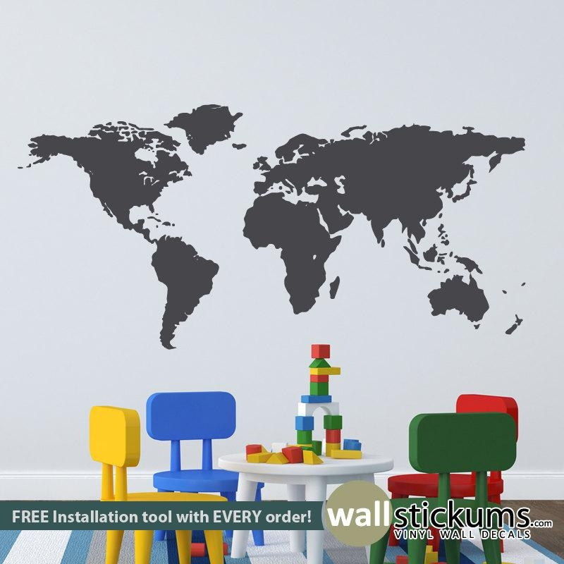 World Map Wall Decal Bedroom Playroom Classroom Wall Decor Regarding World Map Wall Art For Kids (Image 18 of 20)