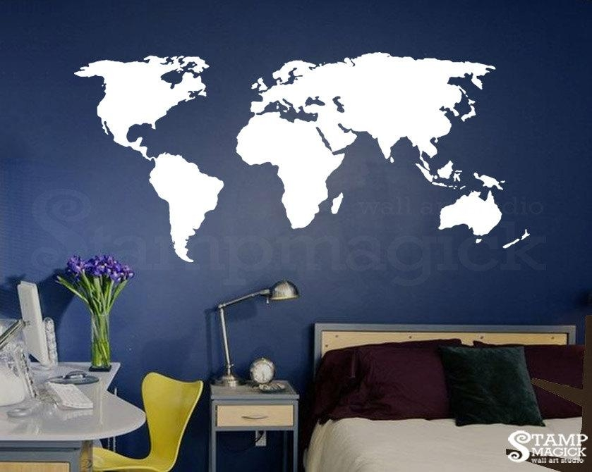 World Map Wall Decal For Home Or Office Chalkboard White For World Map Wall Art Stickers (Image 17 of 20)