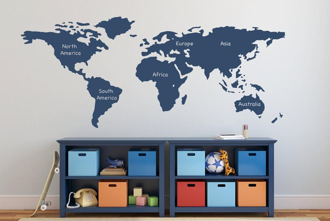 World Map Wall Decal With Continents Vinyl Wall Sticker Decals For Europe Map Wall Art (Image 20 of 20)