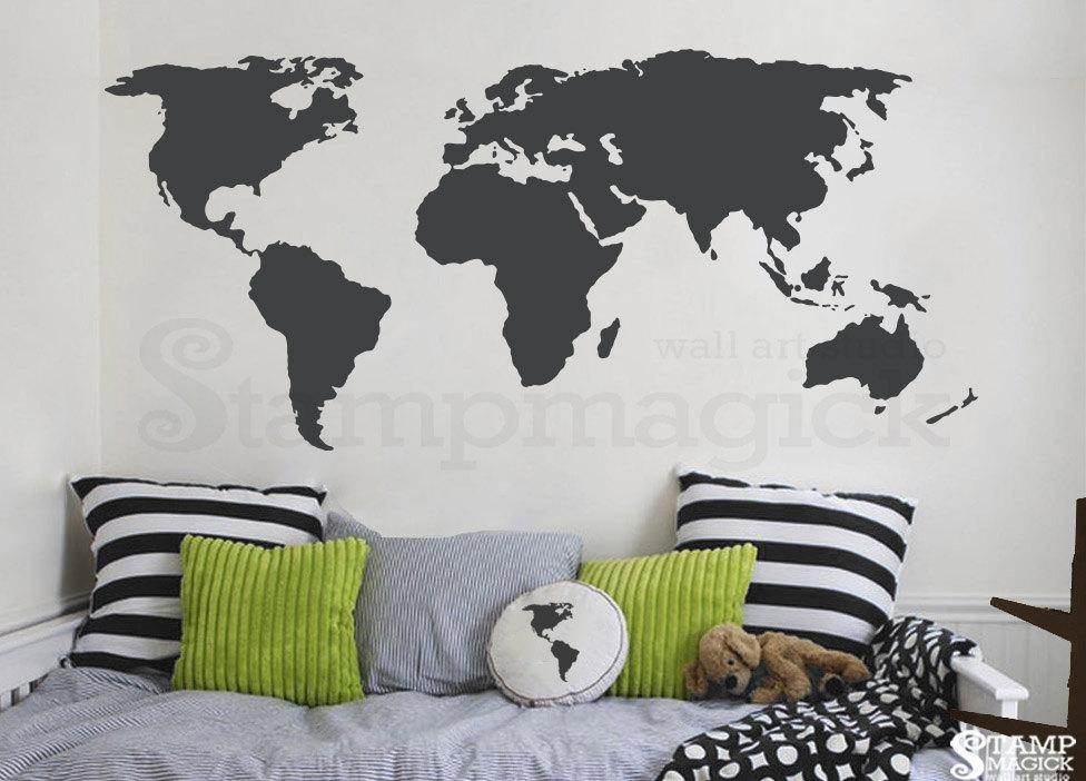 World Map Wall Decal World Map Decal Vinyl Wall Art Mural With Regard To World Map Wall Art Stickers (Image 19 of 20)