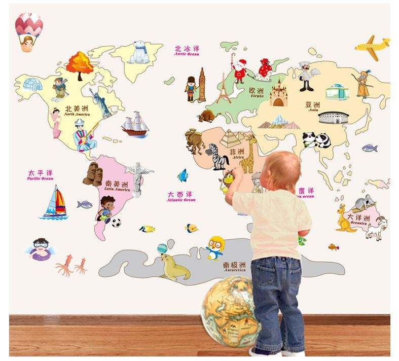 World Map Wall Sticker /wall Stickers Of World Maps Diy Decoration Regarding World Map Wall Art For Kids (Image 19 of 20)