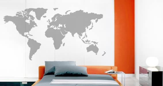 World Map Wall Stickers | Dezign With A Z In World Map Wall Art Stickers (Image 20 of 20)