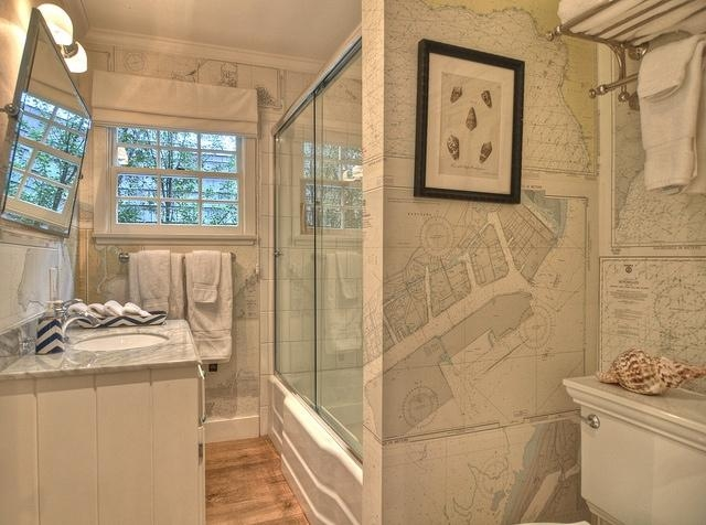 World Map Wallpaper – Vintage – Bathroom – Kathleen Dipaolo Designs Pertaining To Nautical Map Wall Art (View 15 of 20)