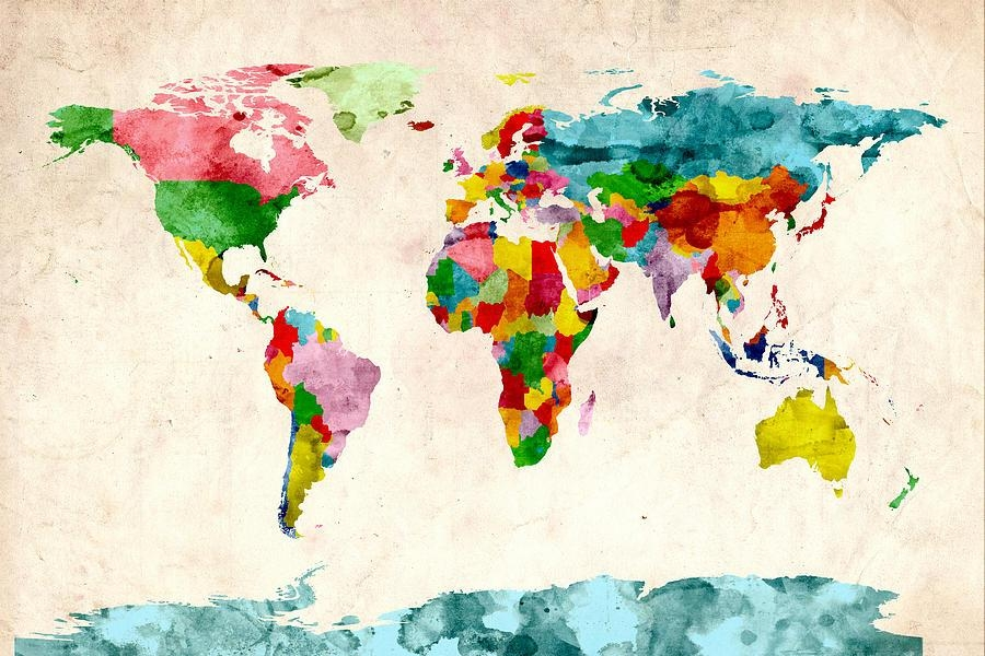 World Map Watercolors Digital Artmichael Tompsett With World Map Wall Artwork (Image 20 of 20)