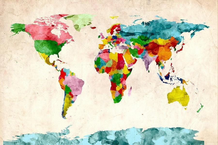 World Map Watercolors Digital Artmichael Tompsett With World Map Wall Artwork (Image 20 of 20)