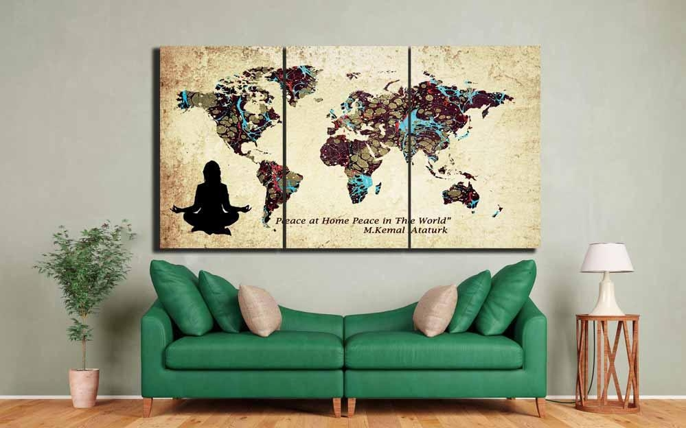 World Map,custom World Map,large World Map Wall Art ,custom Canvas Pertaining To Personalized Map Wall Art (Image 20 of 20)