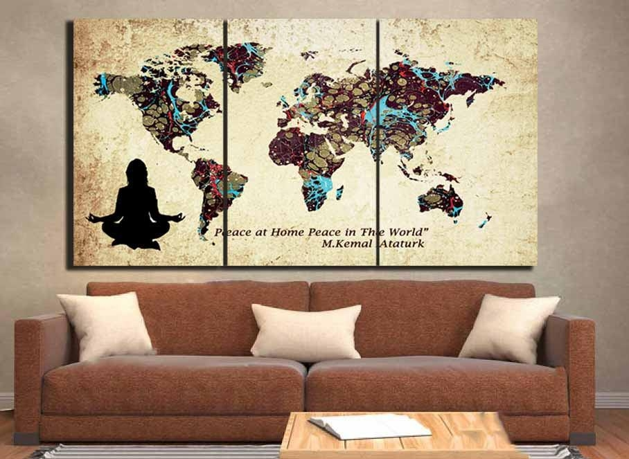 World Map,custom World Map,large World Map Wall Art ,custom Canvas Within Custom Map Wall Art (View 6 of 20)