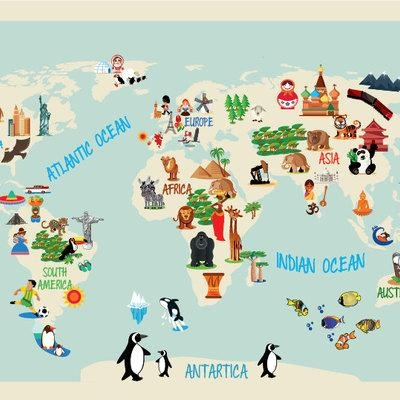 World Maps Wall Art Decals · Moonwallstickers · Online Store Intended For World Map Wall Art For Kids (Image 20 of 20)