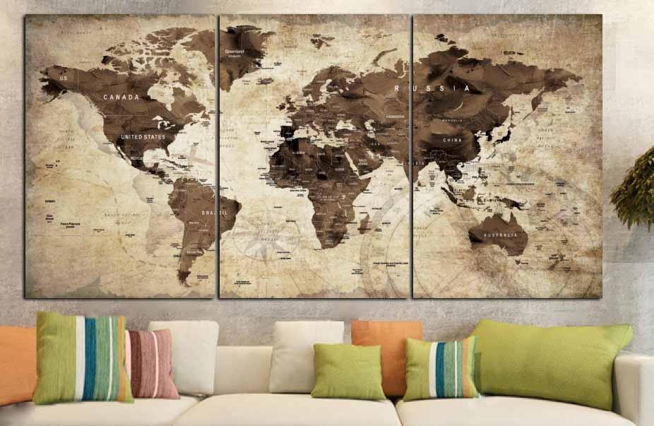 World Map,world Map Vintage,vintage Map Art,world Map Wall Art Within Map Wall Art Canada (View 15 of 20)