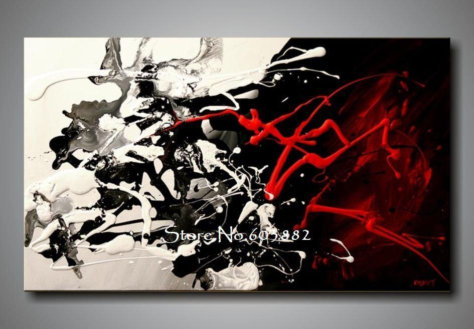 100% Hand Painted Discount Large Black White And Red Abstract Art Regarding Black And White Abstract Wall Art (Image 1 of 20)