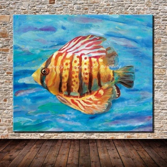 100% Hand Painted Modern Abstract Animal Fish Oil Painting On With Abstract Animal Wall Art (View 13 of 20)